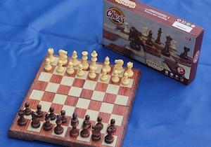 Магнитные шахматы пластмассовые «под дерево» Большие